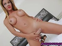 Hot TS Marianna Araujo getting off the woman clothes