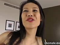 Pretty and lean natural beauty Oriental shemale cums and masturbates