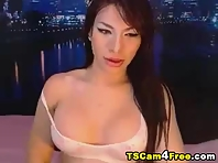 Asian TS Strokes her Penis