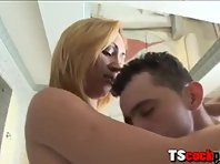 Busty blond TS Bianca Andrade anal fucked and jizzed on