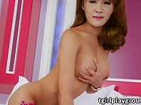 Asian ladyboy Barbara erects her boner off happily