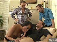 Brunette tranny Jessica Fox sucks and bangs three cocks