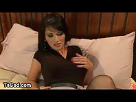 Tranny in black pantyhose fucks guy in bed