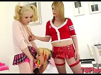 Teen trannies Amy Daly and Juliette hardcore with hot babe