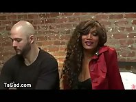 Baldheaded person stinks dick to tanned great bust tranny Yasmin Lee