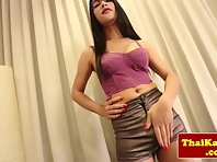 Thickcock thai ladyboy stripteasing and wanking