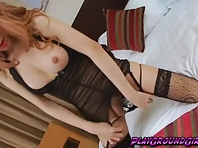 Asian Ladyboy Lisa on Black Lacey Lingerie Wanks Off