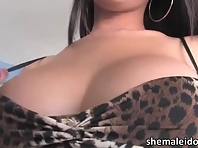 Busty Asian shemale Taylor Stewart cums and is currently masturbating