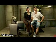 Busty tranny with hat gets bj in office