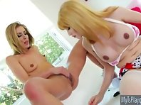 Shemale Eva Lin and babe Sheena Shaw 3some sex with a dude