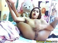 Asian Shemale Jerking Off her Big Cock