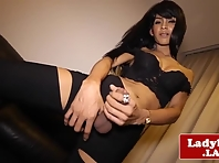 Bigtitted heeled ladyboy masturbating