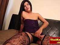 Solo transsexual dragging with asian amateur