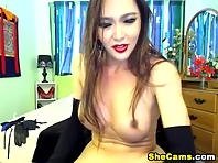 Busty Shemale Jerks Off her Huge Cock