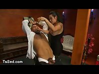 Busty tranny wax and fucks bound baldheaded guy