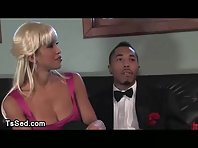 Black man receives heavy throat and asshole fucked from busty crazy tranny