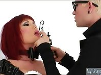 Red haired Tgirl Eva Lin becomes anal assault in her own own white stockings