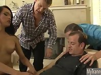 Terrible TS Jessica Fox gets gangbanged and bathe with cumloads