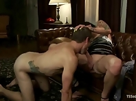 Face fucking shemale with big cock