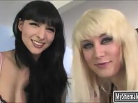 Two especially lean trannies Bailey Jay and Bee Armitage rectal sex