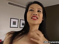Asian ladyboy Sai in sensual draining and in