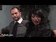 Busty brunet tranny shoves her penis in ass of guy