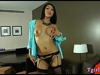 Asian shemale Fanta strokes her huge dick that is hard