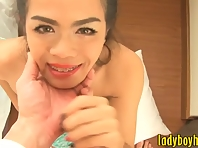 Sexy busty ladyboy railed in her anal bareback in bed