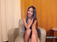 Asian ladyboy got first cock