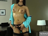 Busty asian shemale Fanta jerks off her dick until it cums
