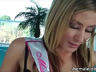 Busty Tgirl Jesse Flores bangs difficult beauty queen Sheena Shaws pussy