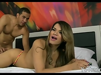 Big breasts tranny takes cock in her ass and enjoying it