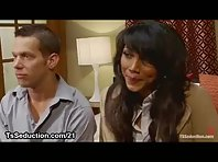 Handcuffed guy mouth area and anus banged by tranny