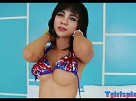 Beautiful ladyboy Jill T jerking off her meaty shaft