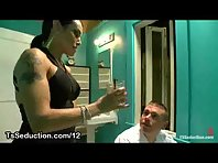 Tranny bound drunk guy and sucks their cock