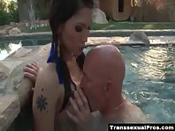 Eva Lin rimmed and sucked into the pool